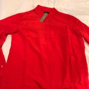 Red silk J. Crew blouse